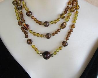 Vintage 3 Strand Amber Bead Necklace Adjustable