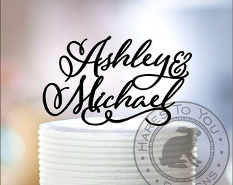 Wedding Cake Topper 11-402 Personalized with First Names of Bride and Groom