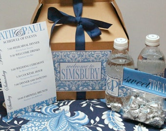 Damask Wedding Welcome Box Basic Package with Ribbon - Destination Wedding Favors - Out of Town Guest Welcome Gift