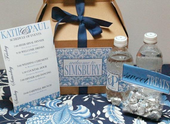 Custom Designed Basic Damask Wedding Welcome Box with Ribbon
