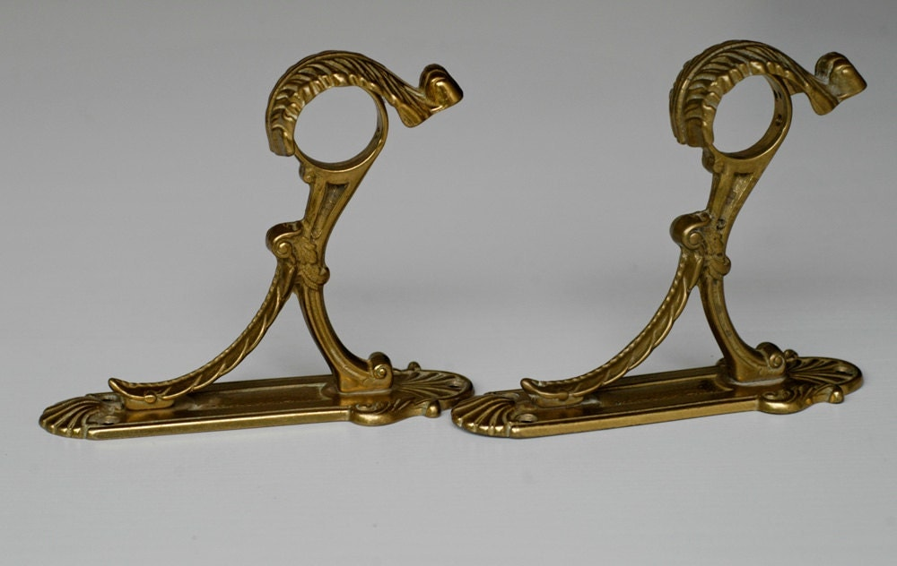 vintage brass curtain rod holders brackets pair of ornate
