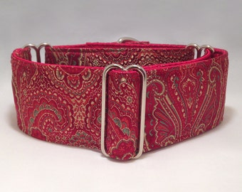 2 inch Martingale Collar, Red Paisley Brocade Martingale Collar, Greyhound Martingale Collar, Dog Martingale Collar