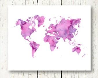 purple world map watercolor printable world map instant download, world map wall art, world map wall decor, world map digital print jpg pdf