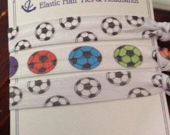 Soccer Elastic Hair Ties, no crease, no tug!