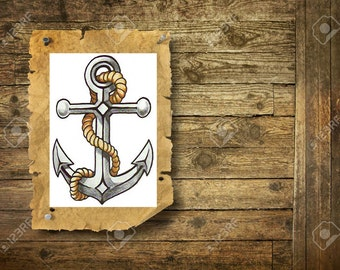 Old school anchor - Temporary tattoo