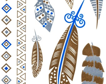 Blue and gold Temporaty tattoos