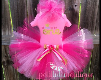 So Fun To Be One First 1st Birthday Tutu set 12m only FREE Headband Pink and Gold