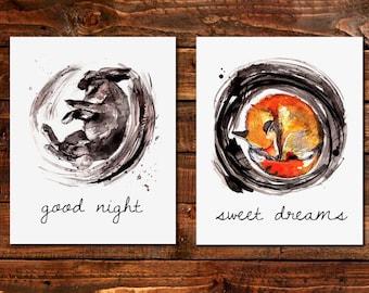 fox print, woodland nursery, autumn nursery decor, nursery art, watercolor print, fox illustration, rabbit, animal watercolor, Set of 2,