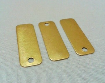 100  Pcs Raw Brass 10 x 30 mm Rectangular 1  Hole Connectors -thickness 0.40 mm 25 Gauge