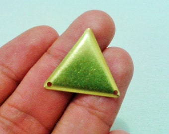 250 Pcs Raw Brass 25 x 25 mm Triangle Findings - Raw Brass Triangle Connector -2 Hole