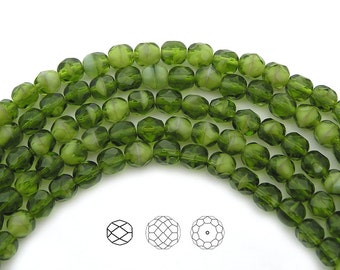 Czech Fire Polished Round Faceted Glass Beads in Green White Givre 2-tone combination, 6mm, 30 beads, 7 inch strand