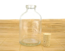 Clear Glass Bottle with Cork - 100ml capacity, Round Shape with thick Glass, Perfect for Mikado or other 1000's of uses! Lab#100C13