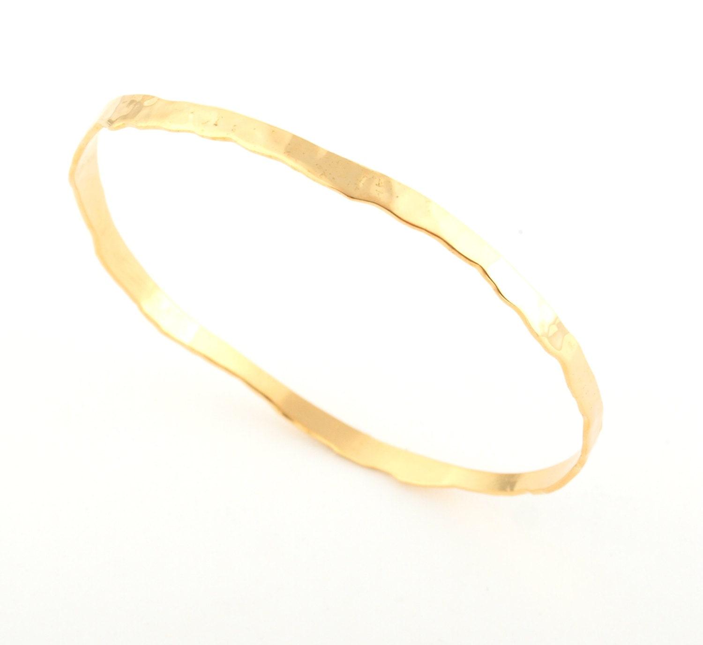 hammered gold bangle solid gold bangles 14k gold bracelet