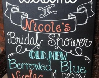 Custom hand painted Chalkboard Bridal Shower Sign