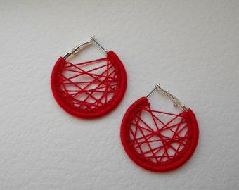 Crochet Hoop Earrings – Handmade Red Earrings - Gift for her - Under 5