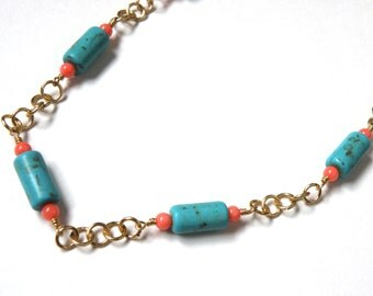 Turquoise, coral, and brass necklace