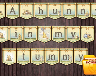 Classic Winnie the Pooh Baby Shower #2 DIY Printable banner - A hunny in my tummy