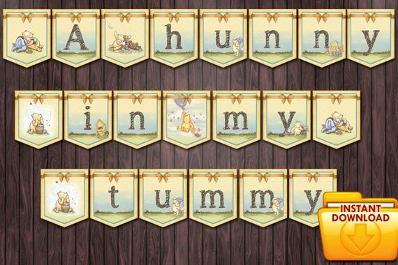 classic winnie the pooh baby shower 2 diy printable banner a hunny