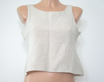 90s minimalist cropped cut-out back linen boxy tank top / light beige