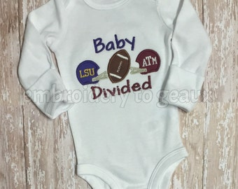 Baby Divided Truck-LSU and Texas A&M Helmet and Football Appliqued Child's T-Shirt or Baby Bodysuit-house divided shirt-football shirt