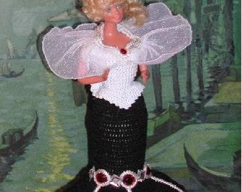 Crochet Fashion Doll Barbie Pattern- #252 OPERA GOWN #3