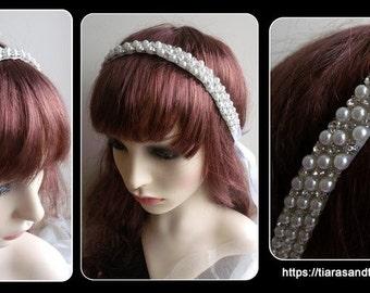 Pearl and Rhinestone boho chic hair band style, Bridal hair band, wedding hair accessories, bridal hair accessories, pearl hair accesories