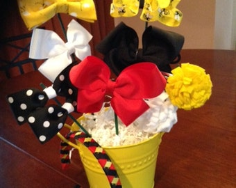 Bumble Bee Hair Bow Gift Pail