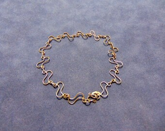 Vintage Estate .925 Sterling Silver Gold-plated Chain Bracelet, 3.75g E2081