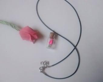 Origami Tulip glass Bottle necklace. Miniature bottle. vial necklace. glass bottle pendant. silver necklace.