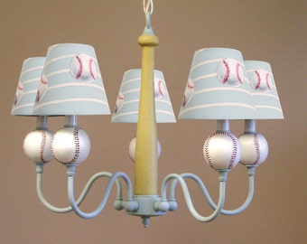 "Baseball ""HOMERUN"" 5 Light Chandelier Perfect for Boys Bedroom, Nursery or Playroom"