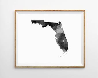 Florida Watercolor Print, Florida Art Print, Florida Poster, State Art Print, Watercolor Print, Watercolor Poster, State Poster