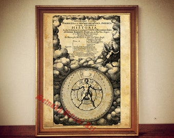 Cosmic Alchemy art, hermetic occult print, man, microcosm and macrocosm, rosicrucian, esoteric poster, magic circle, astronomical decor #21