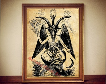 Baphomet print, satanic goat poster, Eliphas Levi, witchcraft, occult gothic gift, Satanic art, magic illustration, altar decor, canvas #2