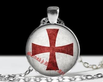 Knights Templar pendant, Templars cross jewelry,  occult necklace, masonic talisman, Illumination #64
