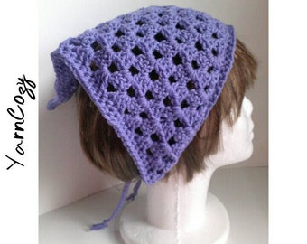 Bandana Head Scarf, Hair Kerchief, Kercheif, Head Scarf, Crochet Bandana