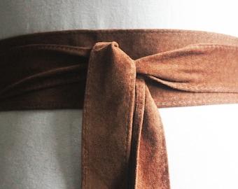 Brown Suede Thin Obi Belt | Narrow Waist Belt | Suede Coat Tie Belt | Real Suede Leather Belt| Handmade Belt | Plus size belts