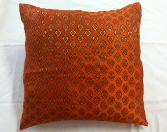 Orange Brocade Throw Pillow Cover 18x18 Indian Pillow with Motifs in Golden and Maroon Indian Brocade Fabric Accent Pillows