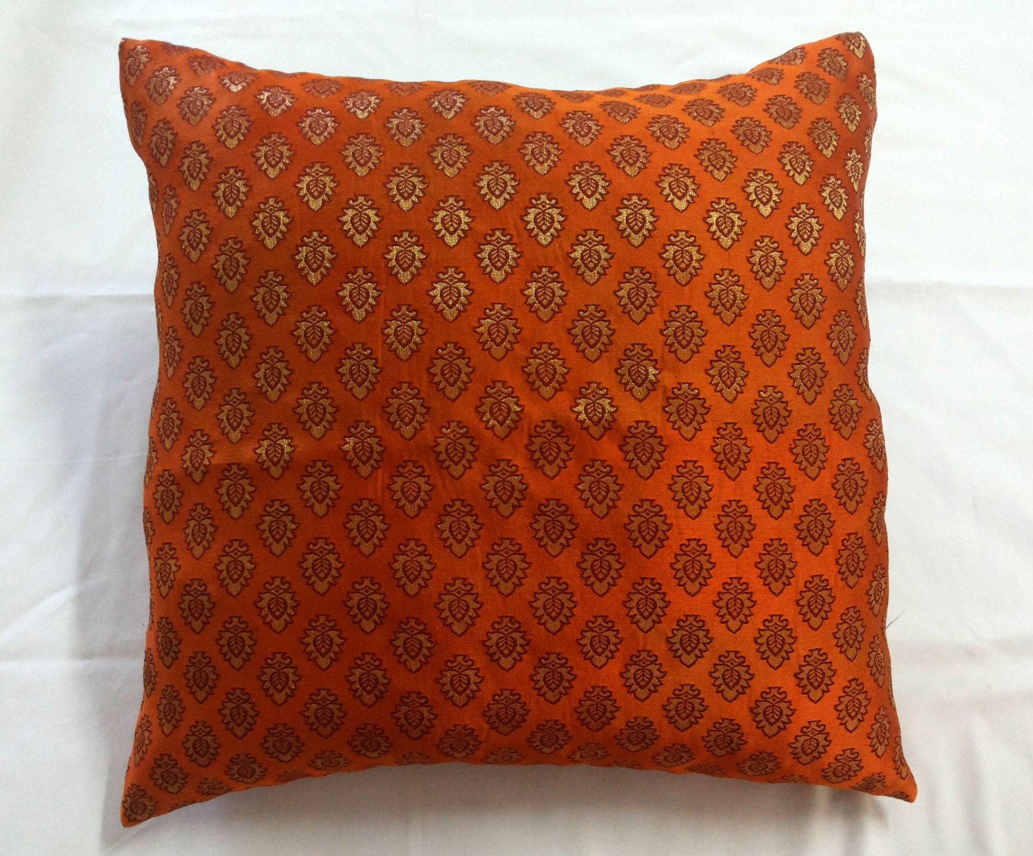 Orange Brocade Throw Pillow Cover 18x18 Indian Pillow with