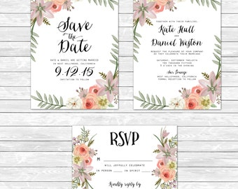 "Wedding Save the Date Invitation RSVP | Summer | Garden | Watercolor | Rustic | Modern Feminine | Floral |  5"" x 7"""