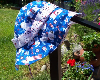 Toddler Sunhat in Patriotic Pup Print, up to 2 years