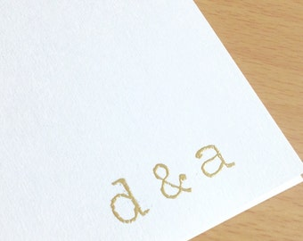 Gold Initial Stationary - Personalized Stationary Cards Set of 8