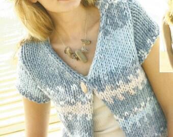 Instant Download - PDF-Lovely Denim Ultra Sleevless Cardigan Knitting Pattern (K4)