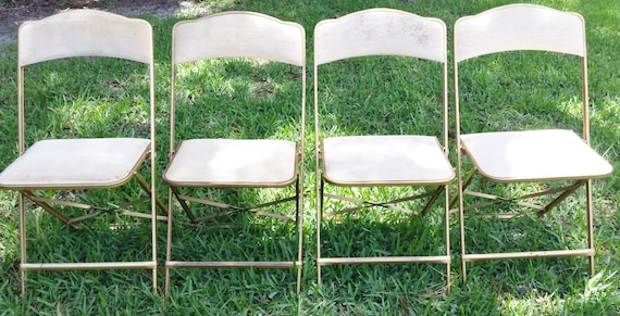 Set Of 4 A Fritz And Co Gold With White Cushioned Folding