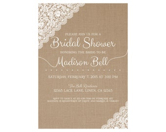 Linen/burlap and Lace Bridal Shower Invitation