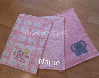 Baby Girl Burpie Cloths FREE MONOGRAM