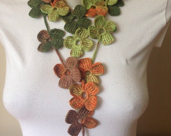 Floral Crochet Scarf in Autumn Colours; Mother's Day Gifts
