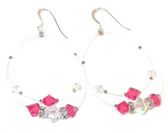 Floating CLEAR ab & INDIAN PINK Crystal Earrings Sterling Silver Swarovski Elements