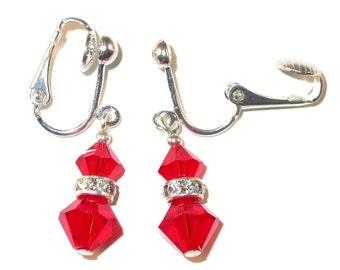 LIGHT SIAM RED Crystal Earrings Sterling Silver Dangle Swarovski Elements - Clip-on or Pierced