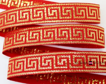 "5 yards 7/8"" Red Gold Greek Key Woven Grosgrain Ribbon"