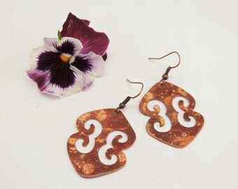 Arabesque shaped Dangle Earrings - Flame Colored Copper